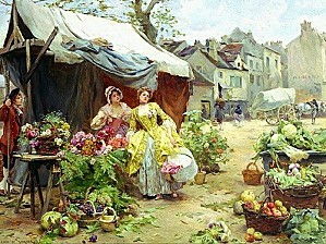 45512965 Louis Marie de Schryver Woman buying flowers at
