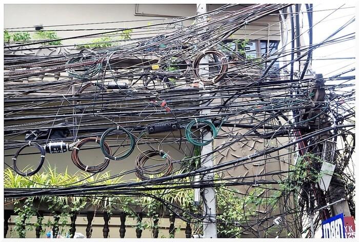 Câbles à Bangkok en Thaïlande.