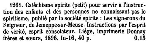 Catéchisme spirite (in Bibliographie de la Belgique)