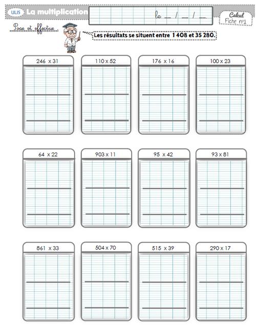 entraînement multiplication par un nombre à 2 chiffres