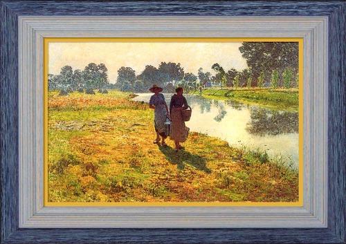 """Dessin et peinture - vidéo 2524 : Analyse du tableau d'Emile Claus  """"Jeunes paysannes marchand sur les bords de la Lys"""". - Le luminisme."""