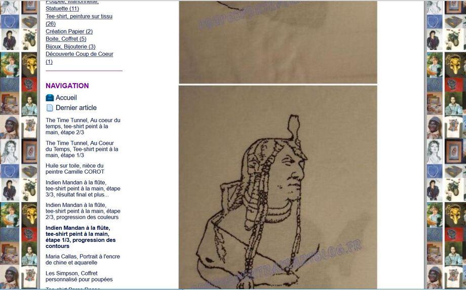 * Article Artblog N°13: Tee-shirt, Indien Mandan, progression 1/3