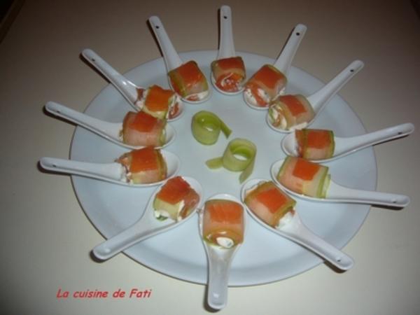 Bouchée saumon fumé concombre