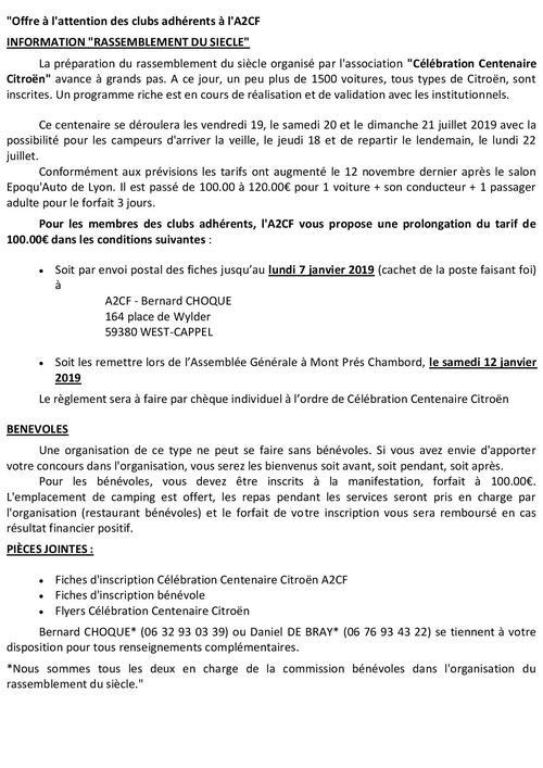 COMPLÉMENT D'INFOS CENTENAIRE