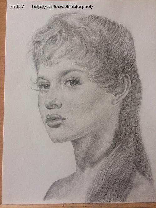 Brigitte Bardot au crayon graphite