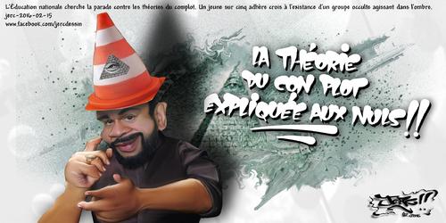 JERC 2016-02-16, caricature Dieudonné, le monde n'est pas dirigé par les ILLUMINATIS mais par LES ABRUTILATIS www.facebook.com/jercdessin Cliquer sur la photo pour voir en plus grand.