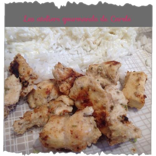Poulet mariné au fromage blanc et aux épices