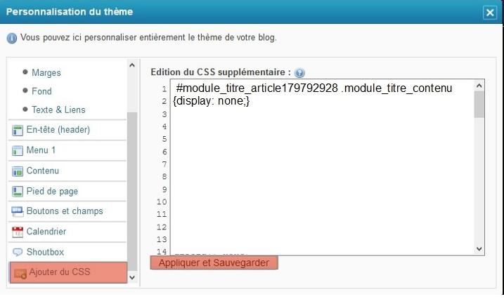 Escamoter le titre d'un article par code CSS