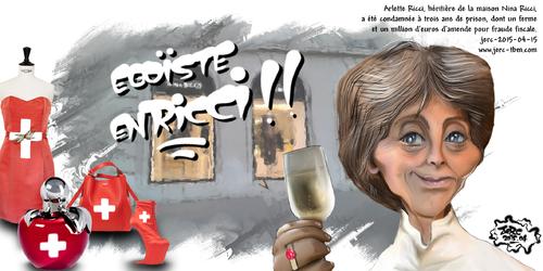 dessin de JERC du jeudi 16 avril 2015. caricature d'Arlette ricci nouvelle collection chez nina ricci www.facebook.com/jercdessin