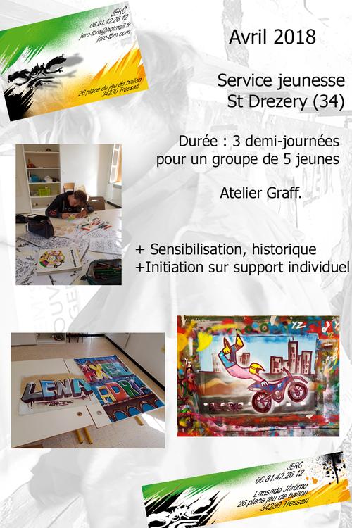 atelier graff initiation au maniement de la bombe de peinture avec des jeunes de St Drézéry (34) Réalisation d'oeuvres sur affichettes. Avril 2018. les photos : http://www.jerc-tbm.com/crbst_5.html