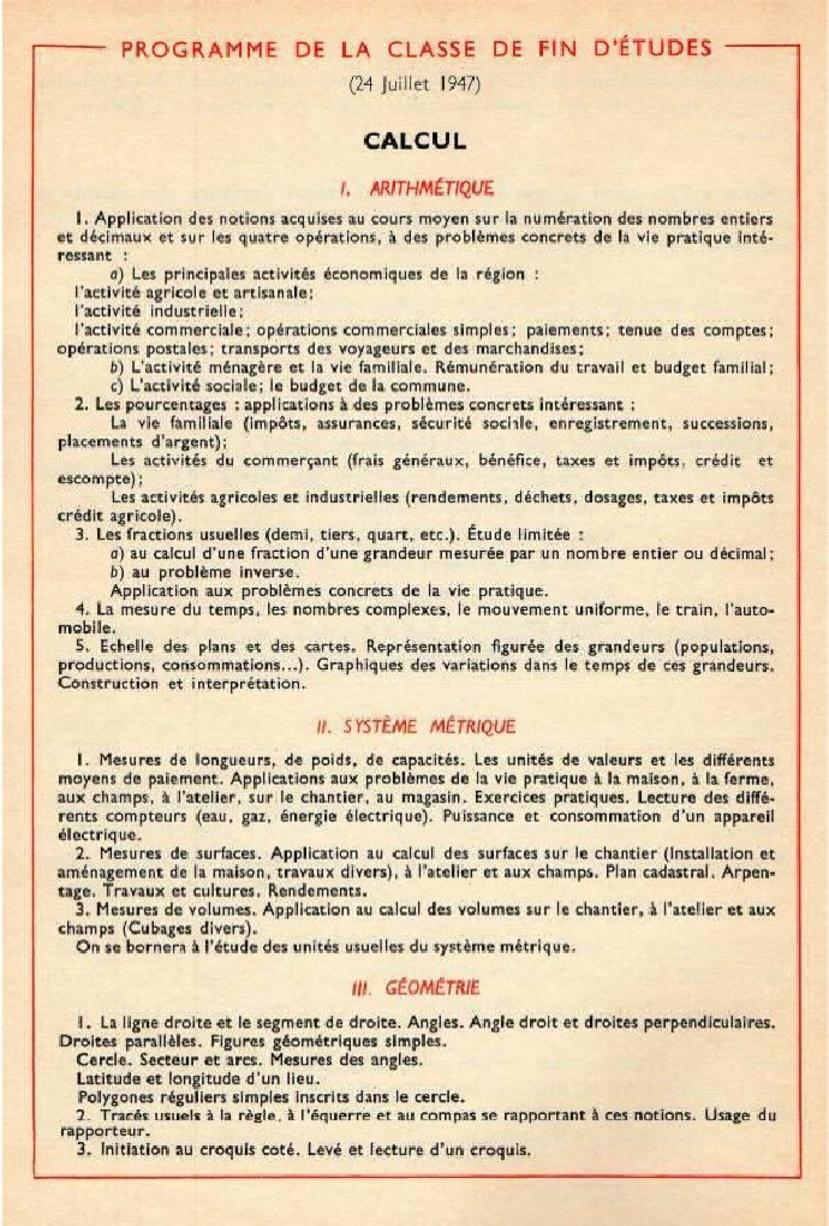 Programme de la classe de fin d'études 24 juillet 1947