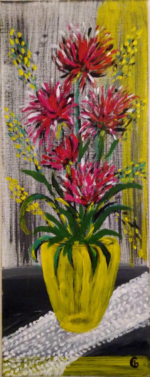 Bouquet au vase jaune