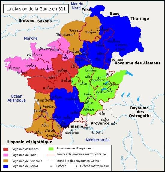 Partage du royaume des Francs en 511, à la mort de Clovis Ier