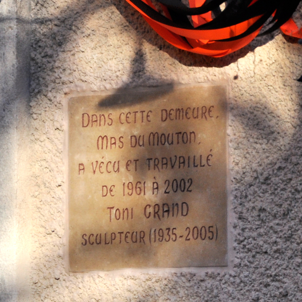 Toni Grand,Important Sculpteur Français, Plaque Commemorative,1935-2005