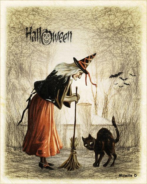 Sorcière Halloween Vintage (Mixed Media)