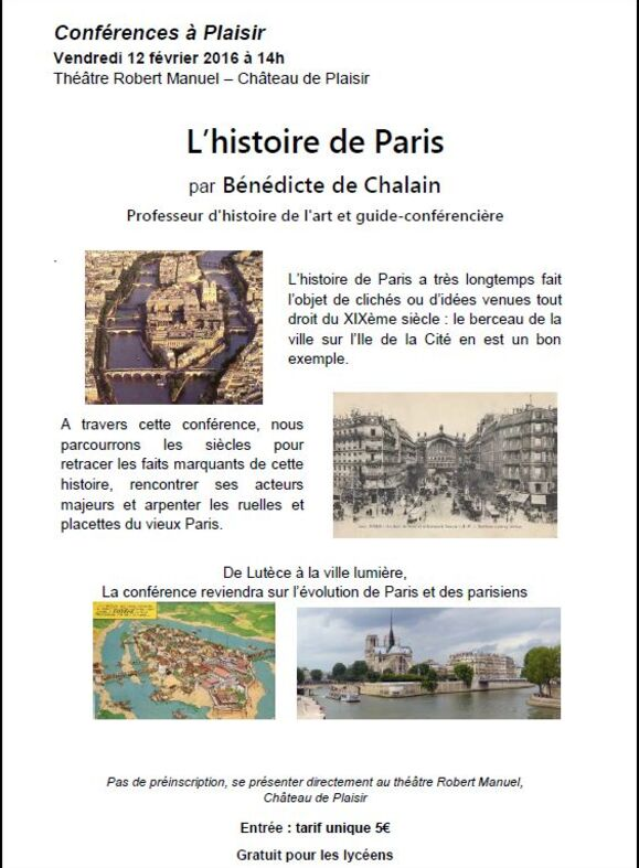Conférence à Plaisir - L'histoire de Paris