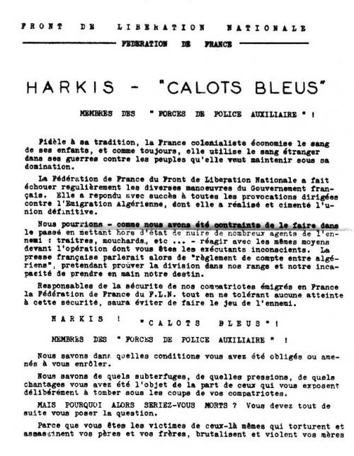 Lettre FLN au Harkis