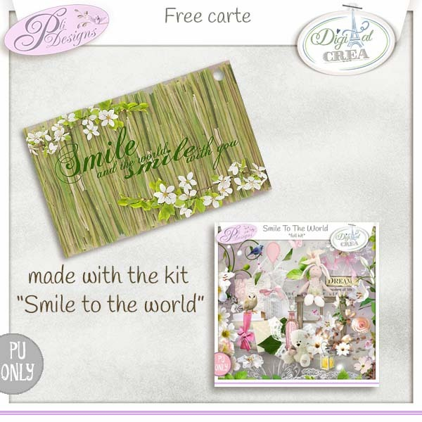 Smile to the world - Free carte - PliDesigns