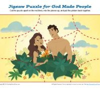 Bible Jigsaw Puzzle Activity for Children - Adam and Eve