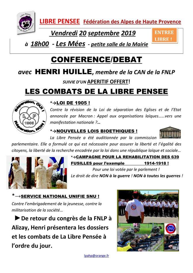 """20/09/2019 Les Mées Conférence -débat avec Henri Huille de la Can de la FNLP: """"Les combats de la Libre Pensée..."""