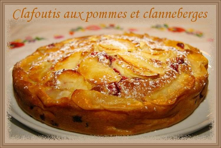 Clafoutis aux pommes et canneberges