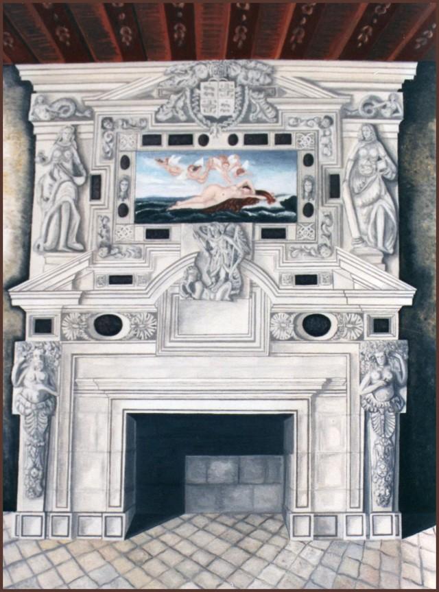 Blog de sylviebernard-art-bouteville : sylviebernard-art-bouteville, Cheminée de la grande salle du château de Bouteville début des premières années du XVII siècles.