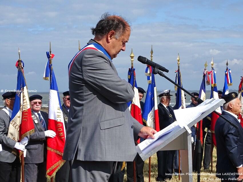 Inauguration Mémorial LANCASTRIA - 18 juin 2016- Maire de Préfailles