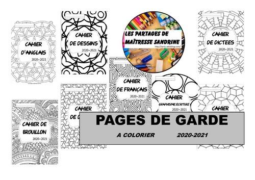 Pages de garde à colorier 2020-2021