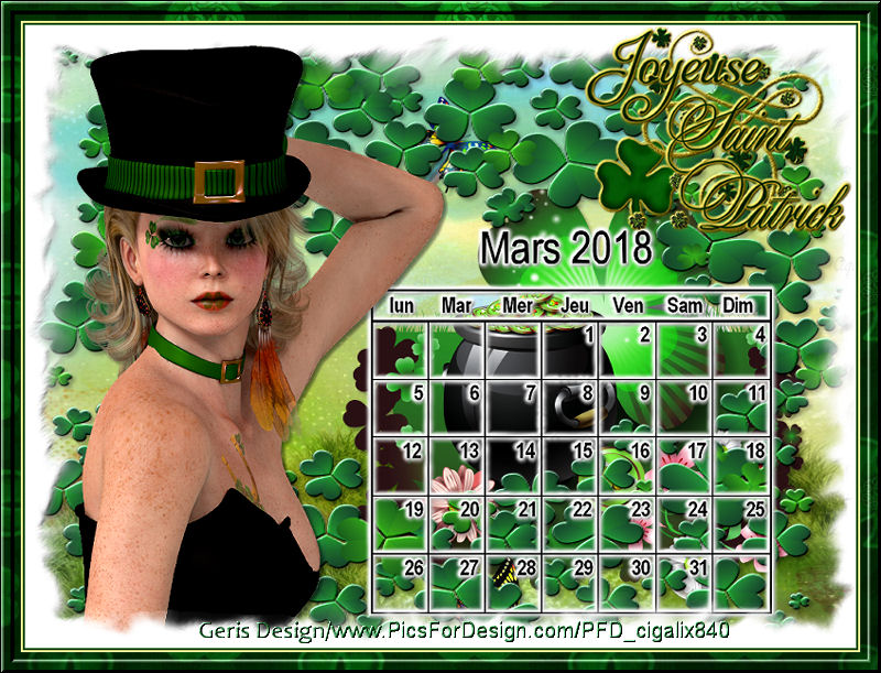 Calendriers mars  2018