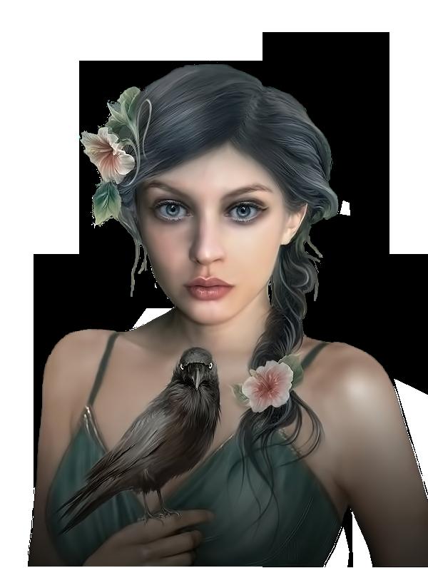 Femme avec son corbeau