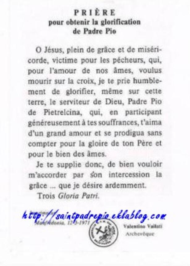 Prière pour obtenir la glorification de Padre Pio