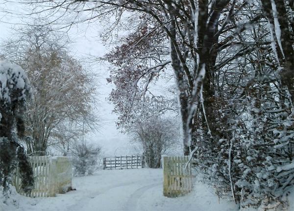 Clichés du village entre neige et dégel