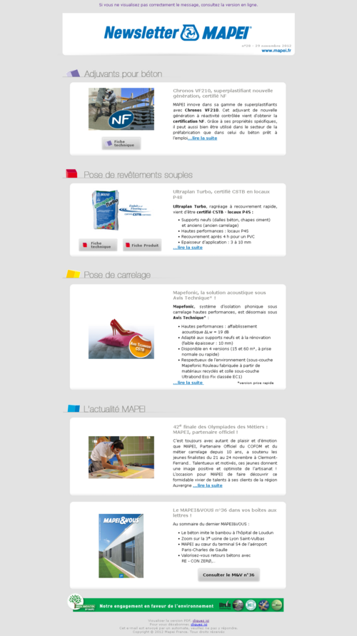 Newsletter MAPEI France