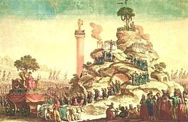 """La """" montagne """" construite et peinte pour la fête"""