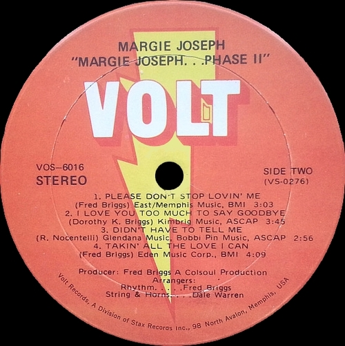 "Margie Joseph  : Album "" Phase II "" Volt Records VOS-6016 [ US ]"
