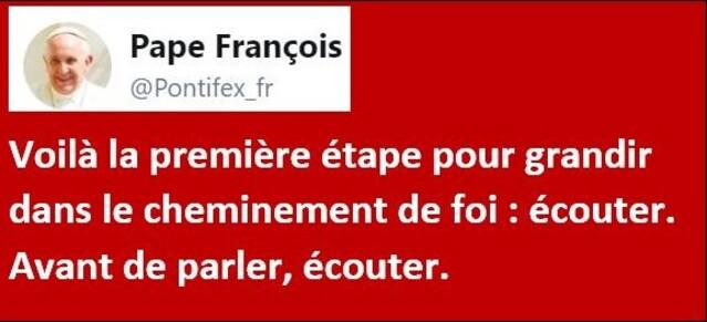 Tweet du Pape ''l'ÉCOUTE''