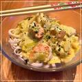 Nouilles chinoises, crevettes & fondu de poireaux curry/lait de coco
