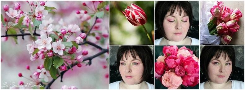 Hello Spring - maquillage de printemps - makeup pink and green - mua rose et vert - tulipe - pivoine - cerisier