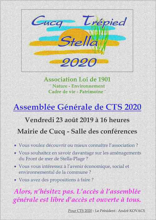 L'association CTS 2020 vous invite à son AGO 2019.