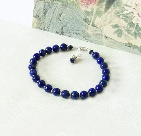 Bracelet Pierre bleue de Lapis-Lazuli naturel 6mm / Plaqué argent