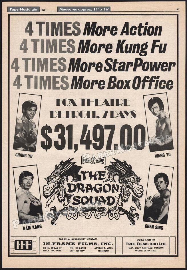 THE DRAGON SQUAD BOX OFFICE USA 1975
