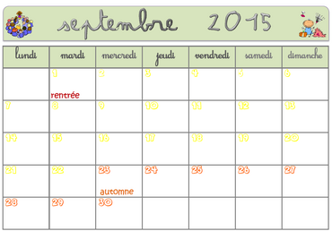 Affichage calendrier 2015 -2016 - 3 zones