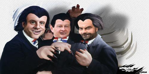 dessin de JERC du vendredi 09 février 2018 caricature Emmanuel Macron, Edouard Philippe, Bruno Le maire  Macronax, Le Mairax, Phillipax rappent tout baisse des impôts, hausse des taxes www.facebook.co