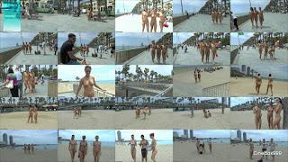 Naked in public in Barcelona.