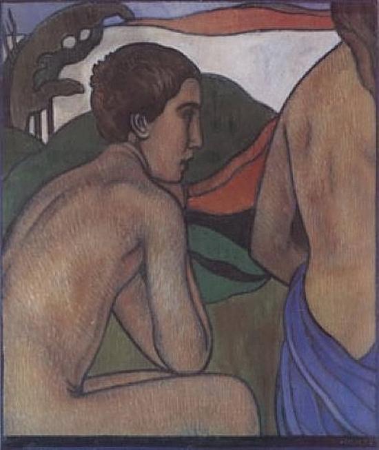 Charles Filiger, Homme nu assis devant un paysage