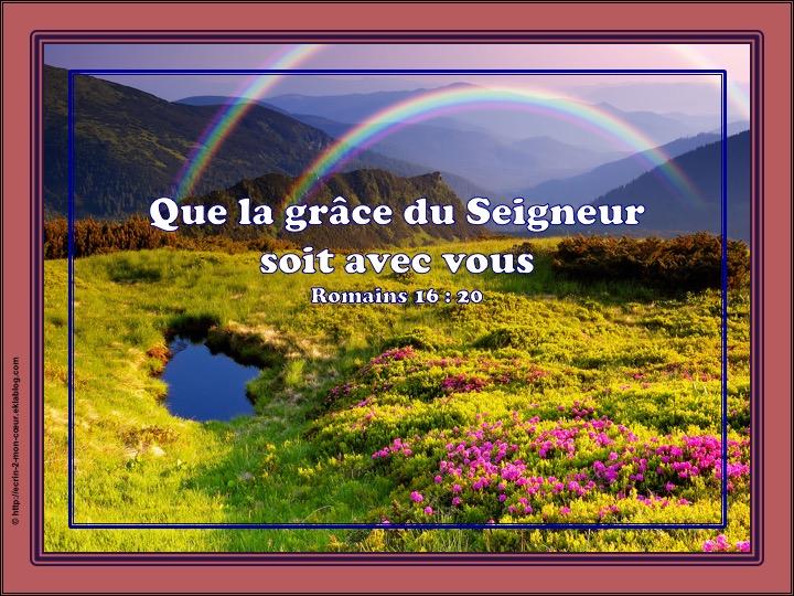 Que la grâce du Seigneur soit avec vous - Romains 16 : 20
