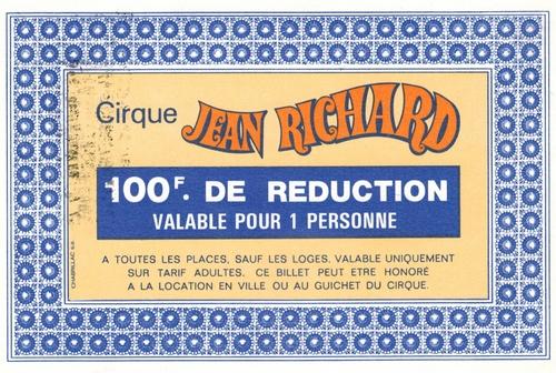3 versions de bons de réduction du cirque Jean Richard