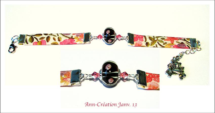 Bracelet Tissu Liberty authentique / Verre Lampwork / Plaqué argent