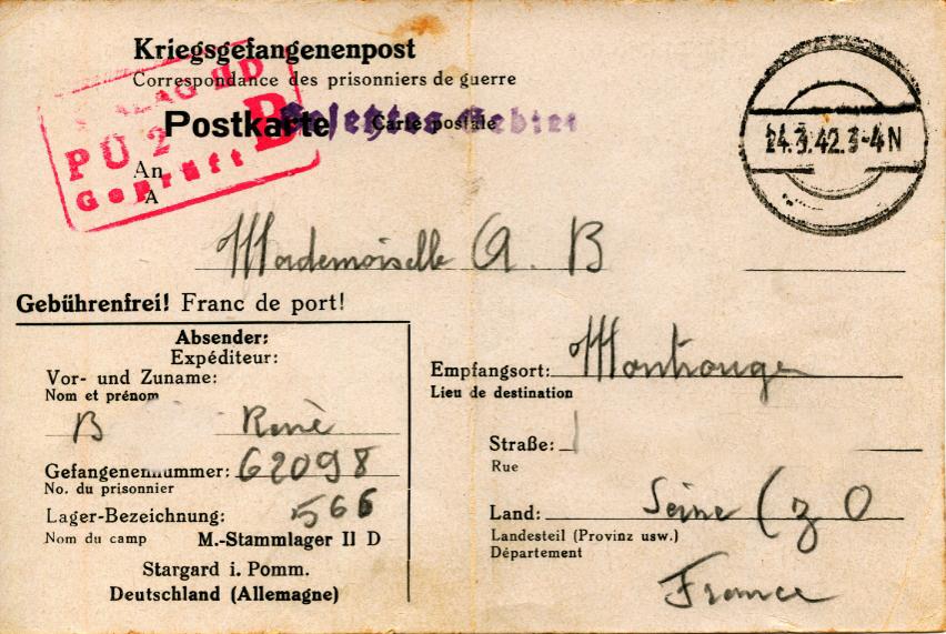 Une lettre du 16 mars 1942