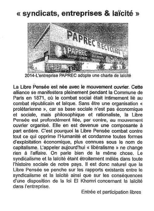 Jean JAYER, Vice-Président de la Libre Pensée en visite dans le Finistère animera une conférence-débat à l'Espace associatif de Quimper mercredi 7 février 20H.